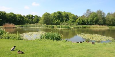 Front view of the fishing lake, exclusively available to our residents